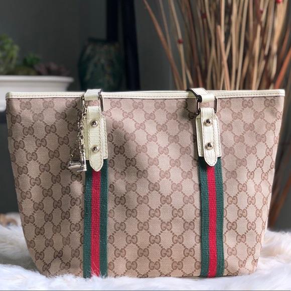 9bef873b896 Gucci Handbags - Gucci GG Canvas Jolicoeur Tote Bag with Charm